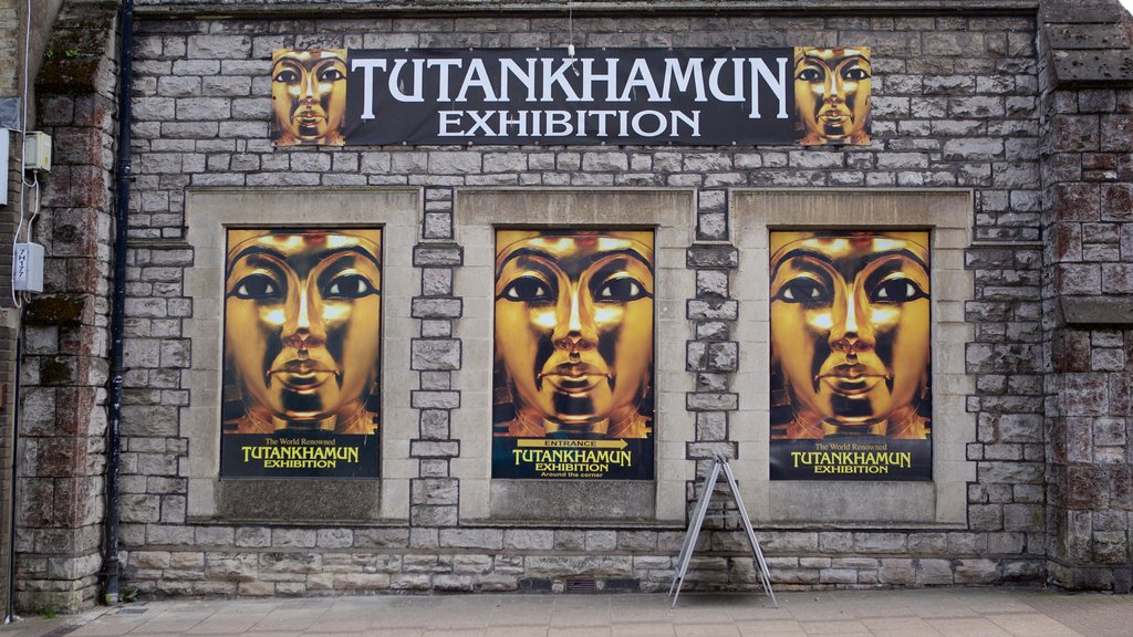 Tutankhamun: The Exhibition which includes signage