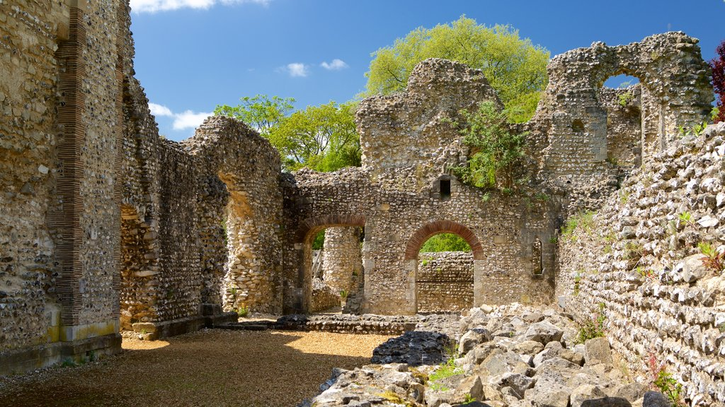 Wolvesey Castle showing building ruins, heritage elements and chateau or palace
