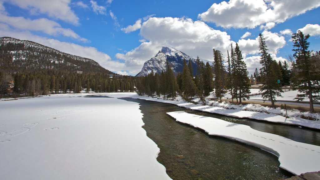 Banff showing snow and a lake or waterhole