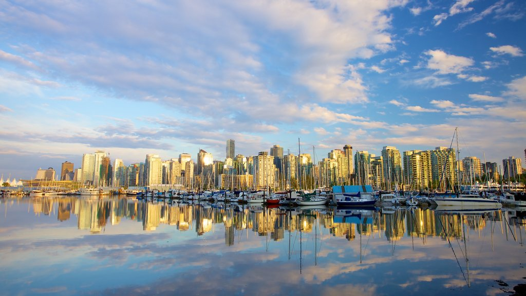 Stanley Park featuring a marina, a city and skyline