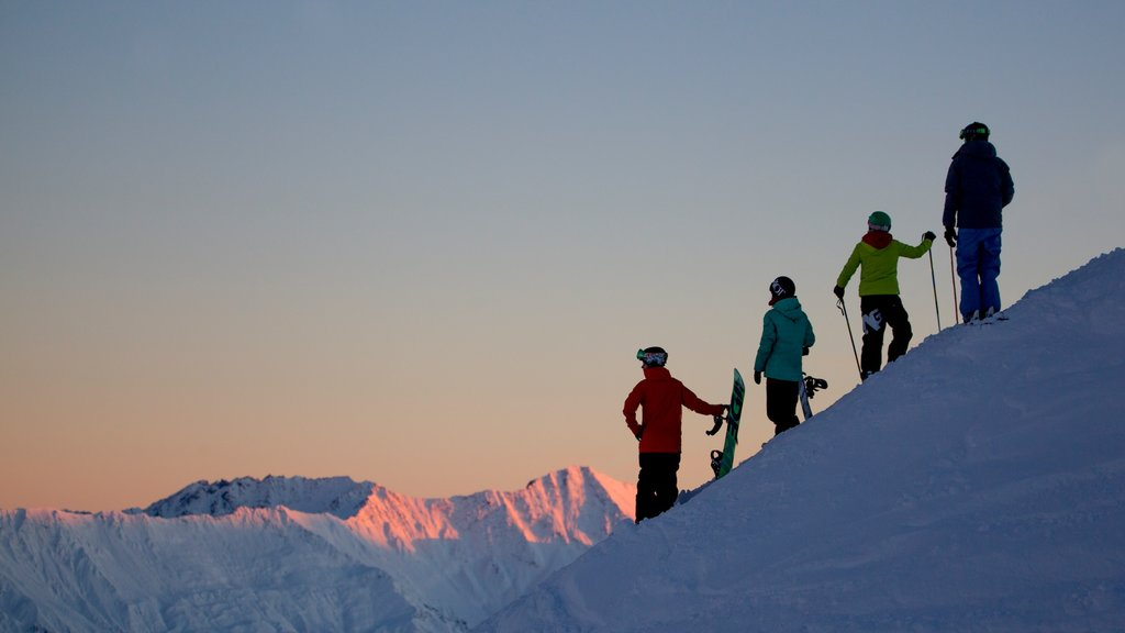 Coronet Peak Ski Area which includes snow as well as a small group of people