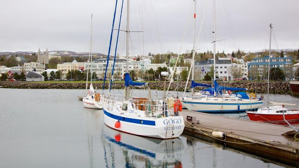 Akureyri featuring sailing and a lake or waterhole