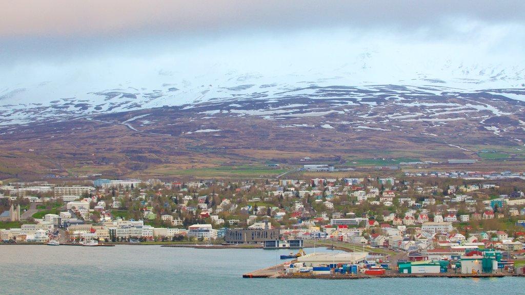 Akureyri featuring a coastal town