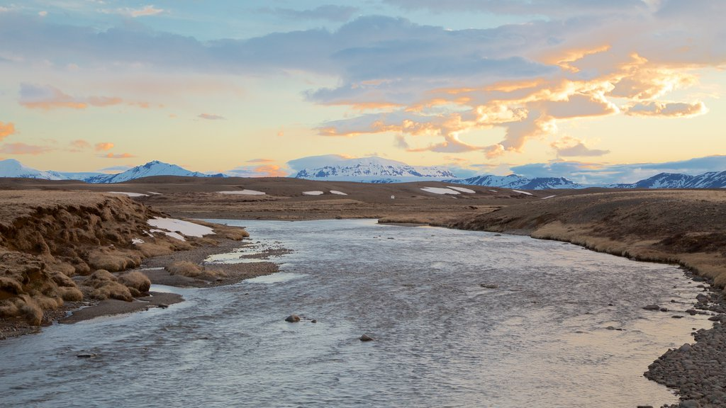 Laugarvatn showing tranquil scenes, a sunset and a river or creek