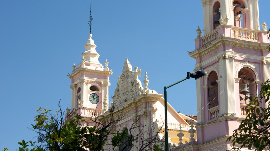 Salta Cathedral featuring heritage architecture, a church or cathedral and religious elements