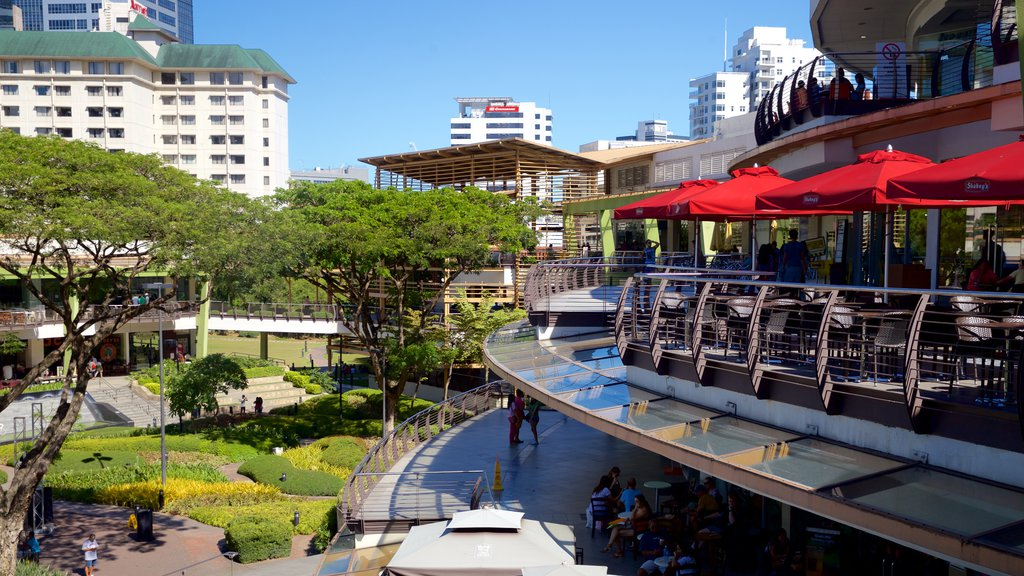 Ayala Center which includes modern architecture and a garden