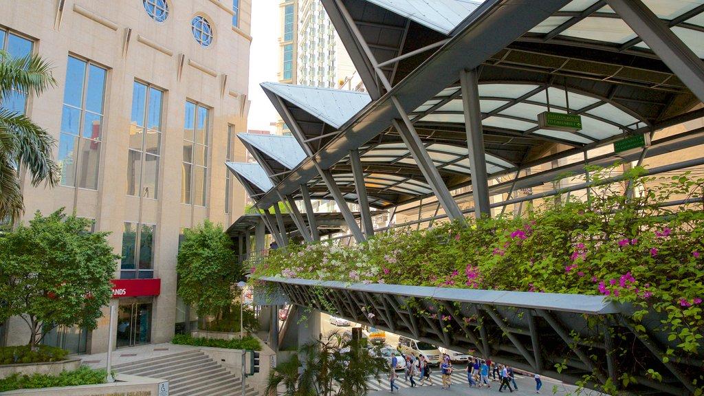 Makati mostrando arquitectura moderna, un puente y un parque