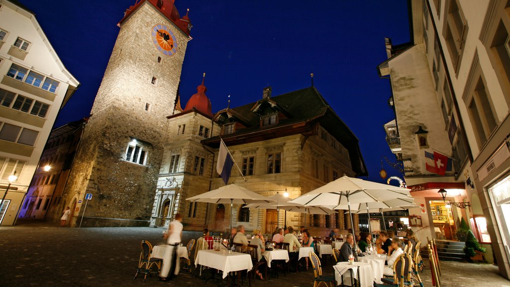 Old Town Lucerne showing outdoor eating, fall colors and night scenes