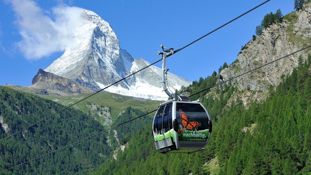 Matterhorn que incluye montañas, nieve y escenas forestales