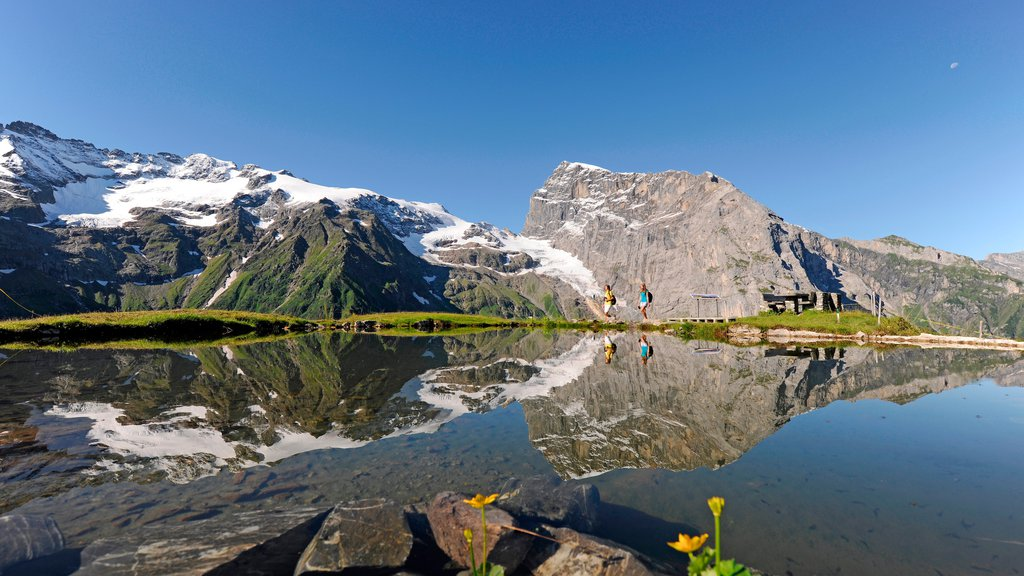 Engelberg-Titlis Ski Resort featuring a pond and mountains