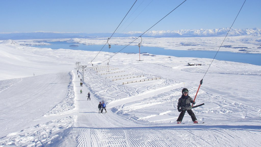 Roundhill Ski Area featuring landscape views and snow