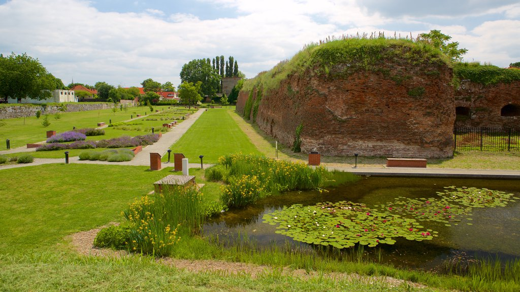 Fortress of Oradea showing a pond and a park