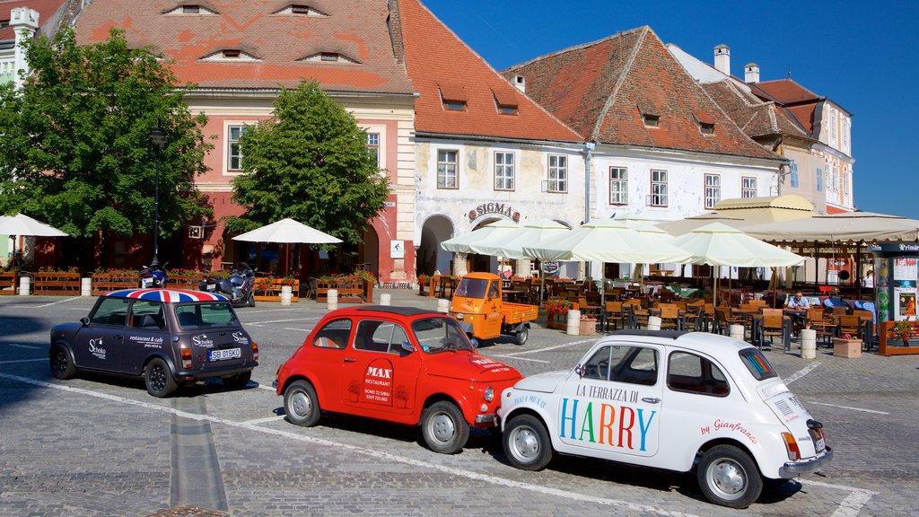 Sibiu showing street scenes