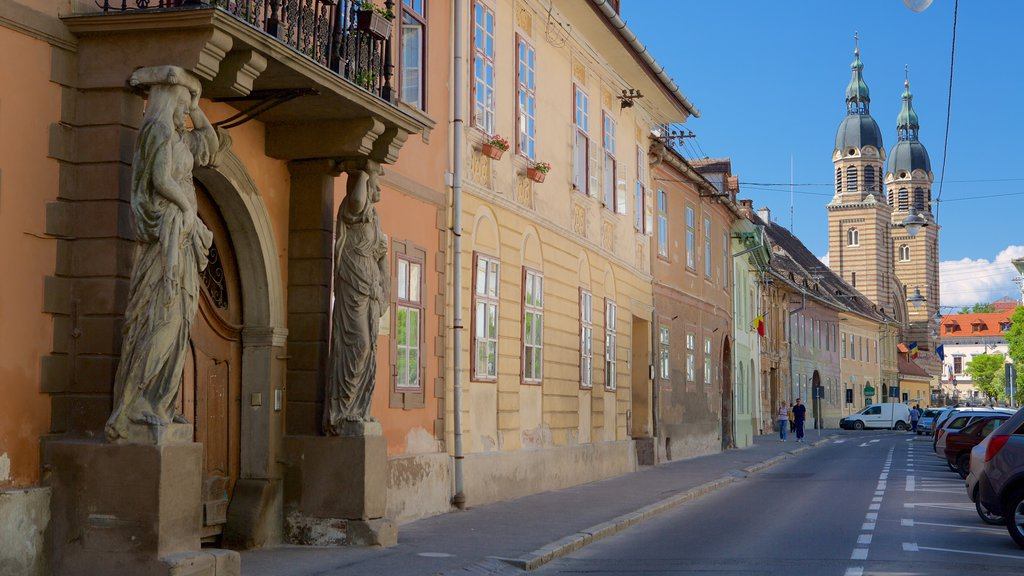 Sibiu featuring street scenes and heritage architecture
