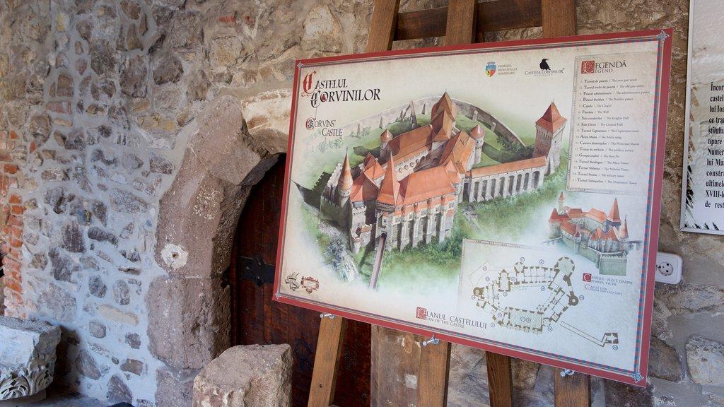 Hunedoara Castle featuring signage