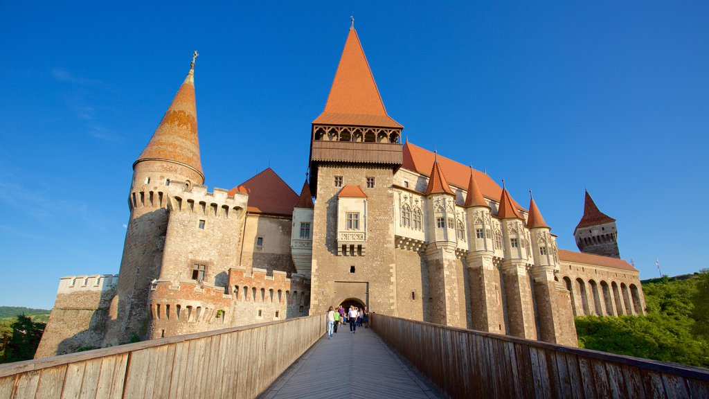 Hunedoara Castle which includes a castle and a bridge