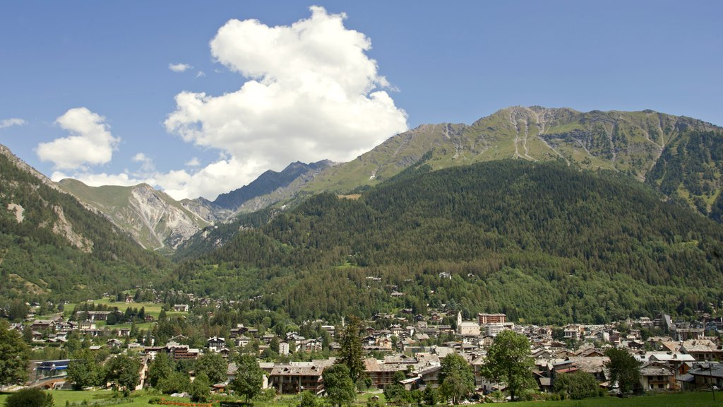 Courmayeur which includes a small town or village and mountains