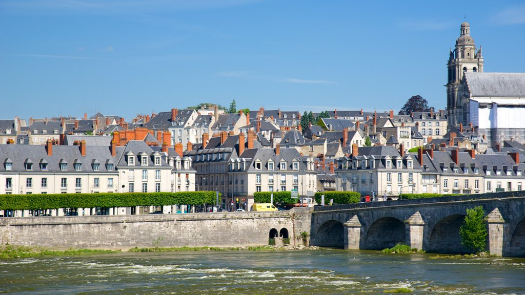 Blois showing a bridge, a small town or village and a river or creek
