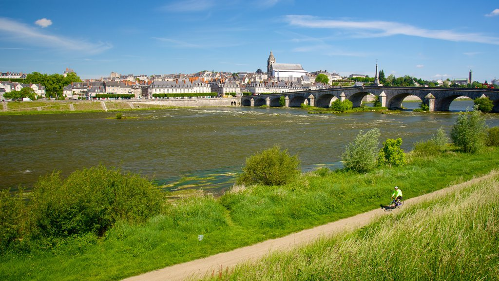 Blois which includes a river or creek, a bridge and a small town or village