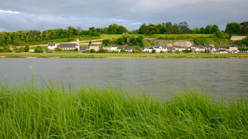 Chaumont-sur-Loire showing a small town or village and a river or creek