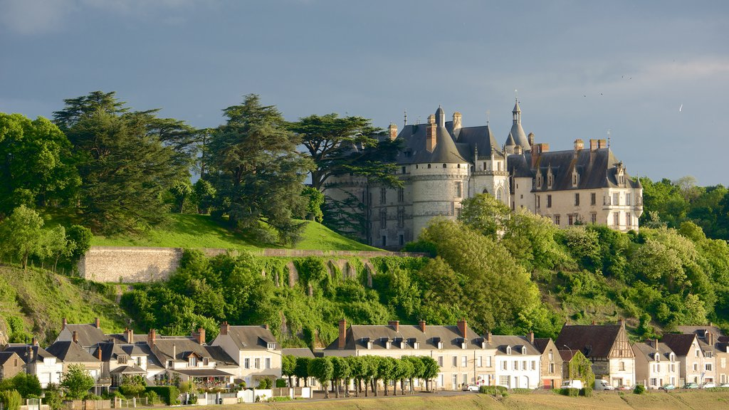 Chateau de Chaumont which includes a small town or village, tranquil scenes and a castle
