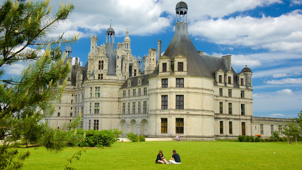 Chateau de Chambord showing a castle, a garden and heritage architecture