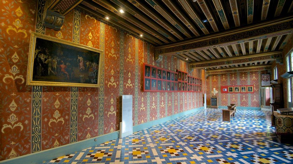 Chateau de Blois showing art, a castle and interior views
