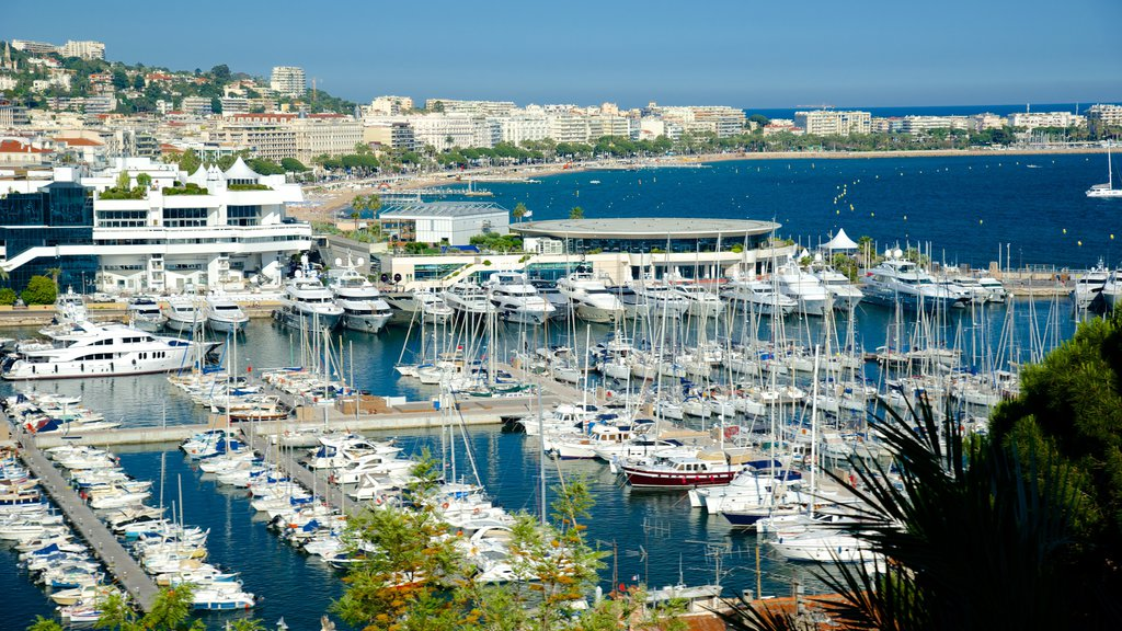 Cannes Harbour which includes a coastal town and a marina