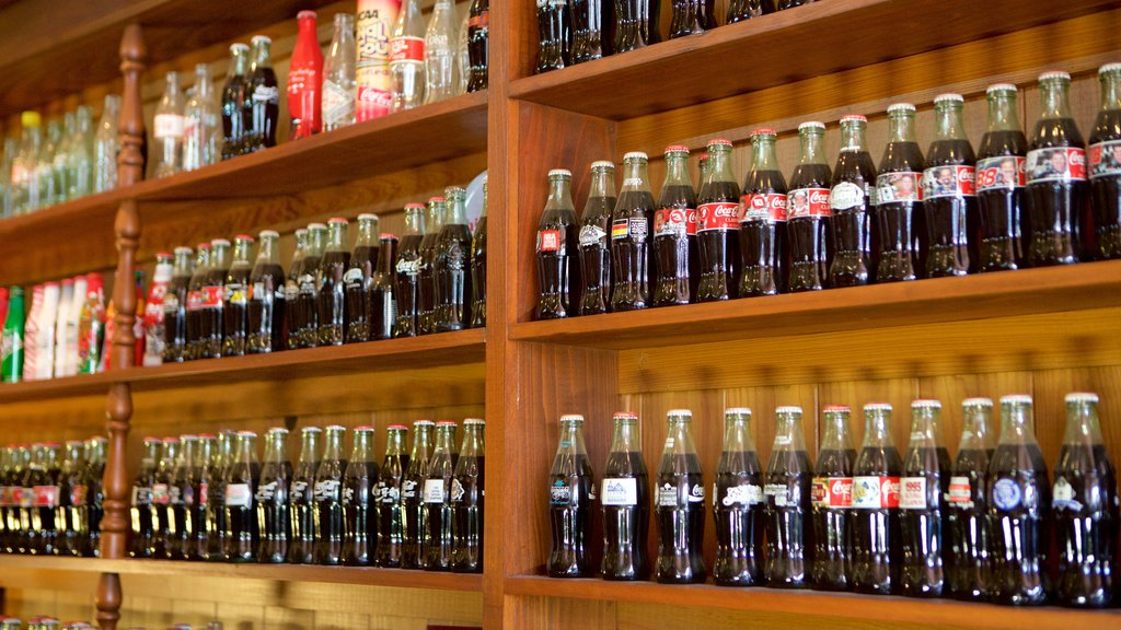 Biedenharn Coca-Cola Museum showing interior views and drinks or beverages