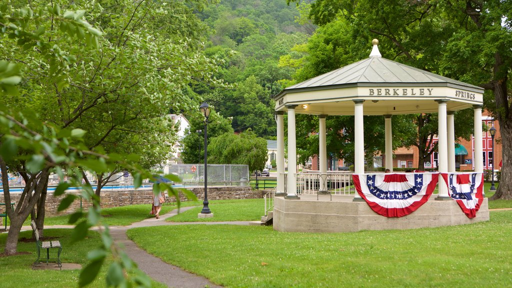 Berkeley Springs State Park which includes a garden and heritage elements