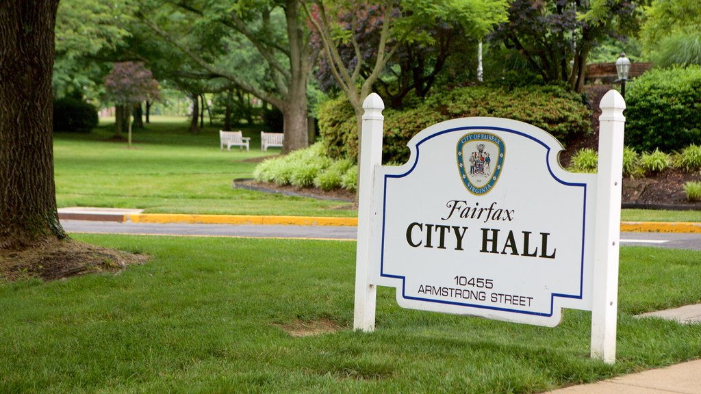 Fairfax which includes signage, an administrative buidling and a park