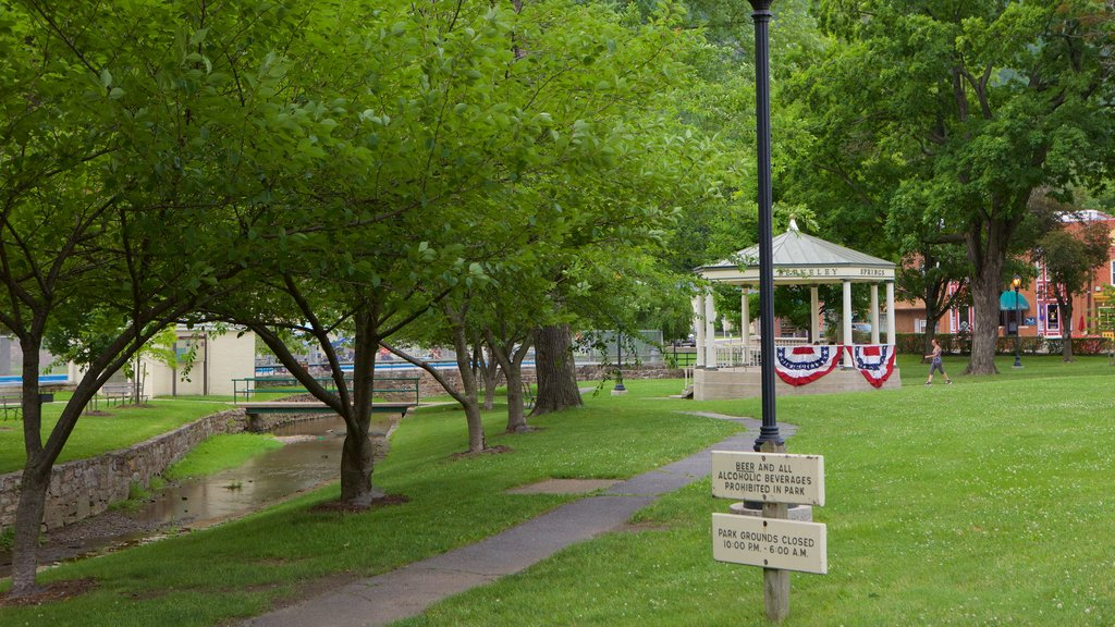 Berkeley Springs State Park featuring signage and a park