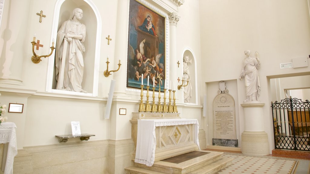 Basilica of Saint Marino which includes a church or cathedral, interior views and art