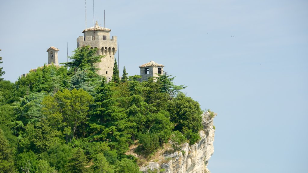 Montale Tower featuring chateau or palace, heritage elements and mountains