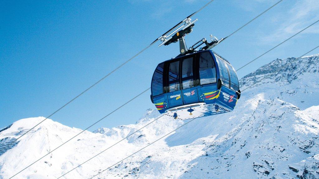 Hintertux Glacier Ski Resort showing a gondola, mountains and snow