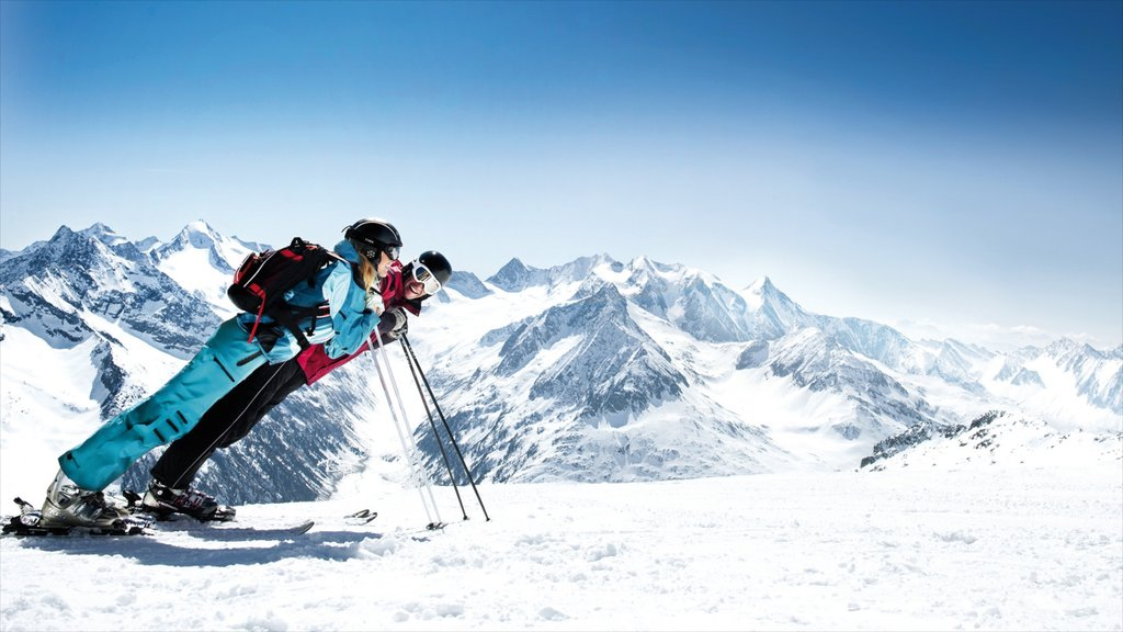 Hintertux Glacier Ski Resort which includes snow, mountains and snow shoeing
