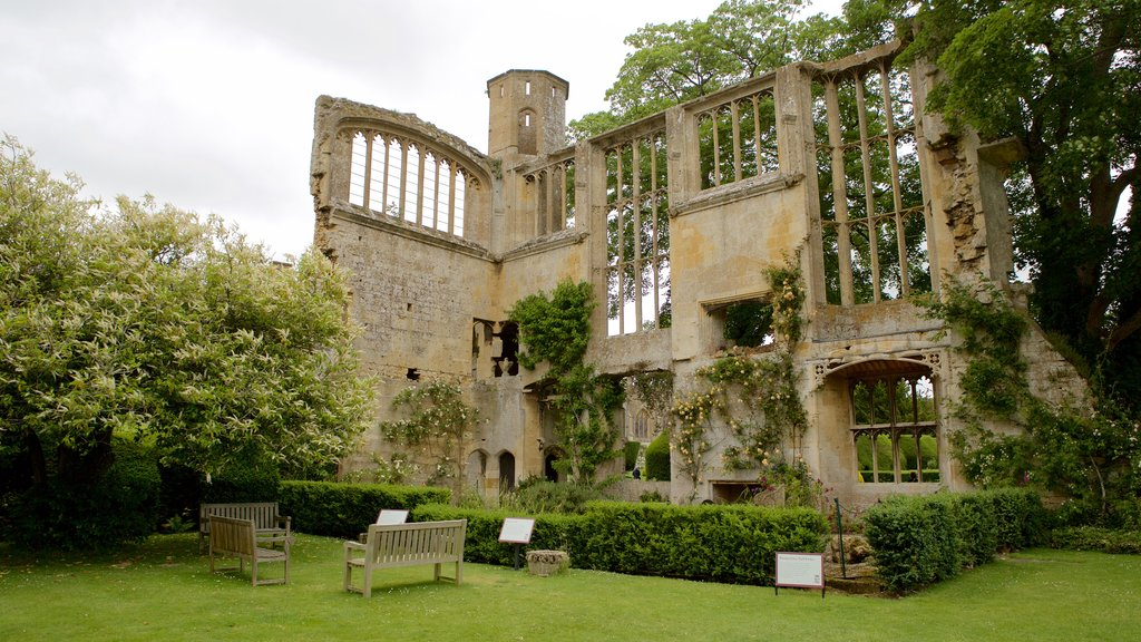 Sudeley Castle featuring a garden, chateau or palace and a ruin