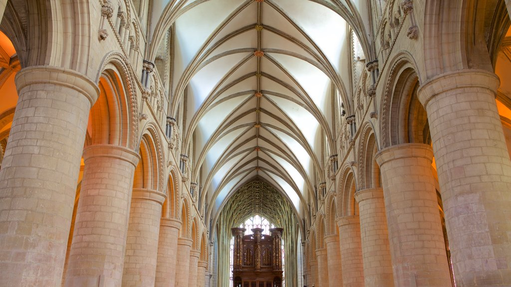 Gloucester Cathedral showing interior views, heritage architecture and a church or cathedral