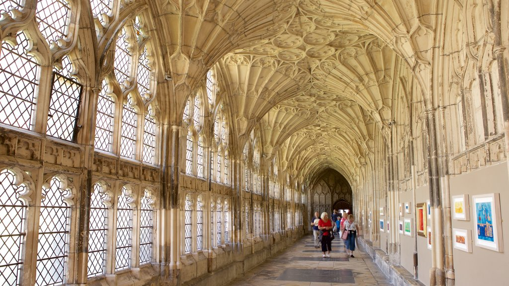 Gloucester Cathedral which includes heritage architecture, interior views and a church or cathedral