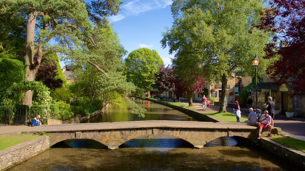 Bourton-on-Water which includes a bridge, a garden and a river or creek