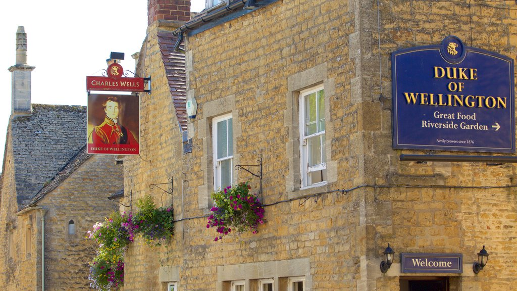 Bourton-on-Water showing signage and heritage elements