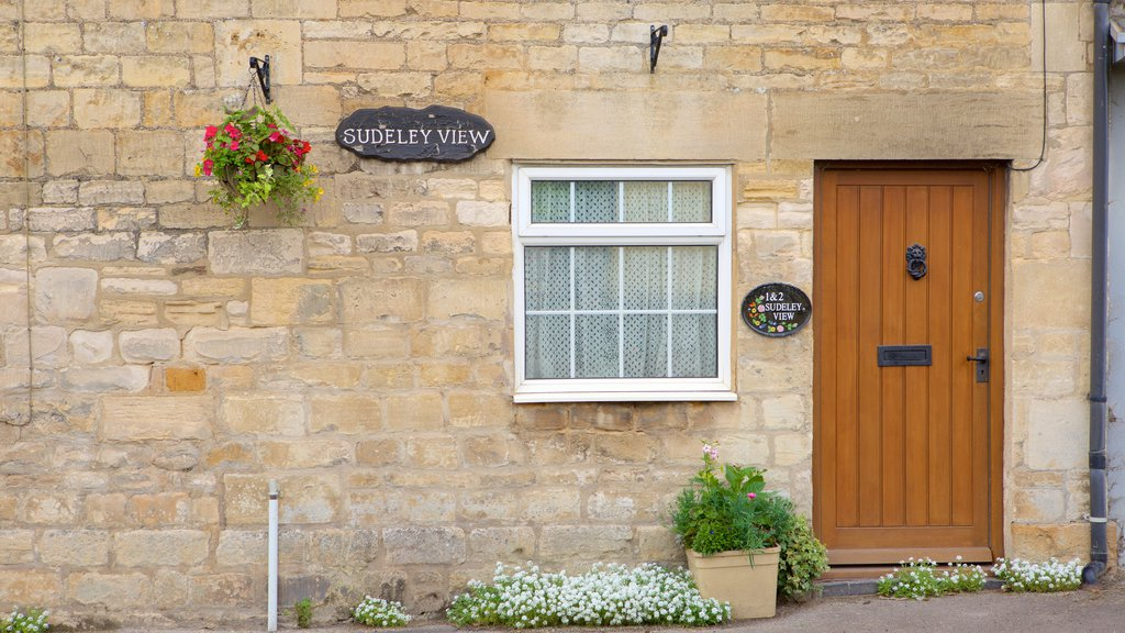 Winchcombe showing signage and heritage elements