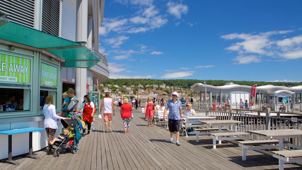 The Grand Pier featuring outdoor eating as well as a family