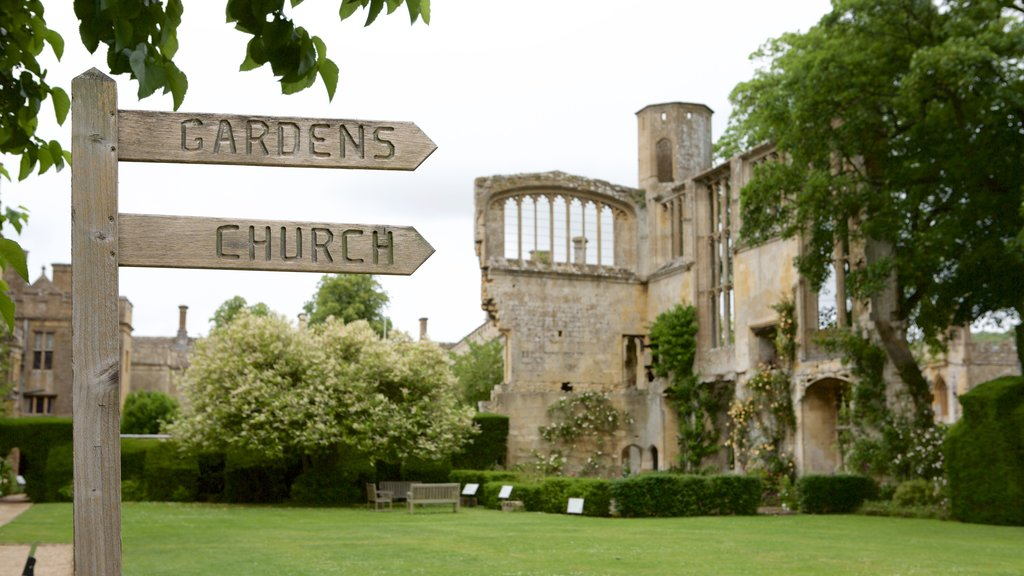 Sudeley Castle featuring a ruin, a park and chateau or palace