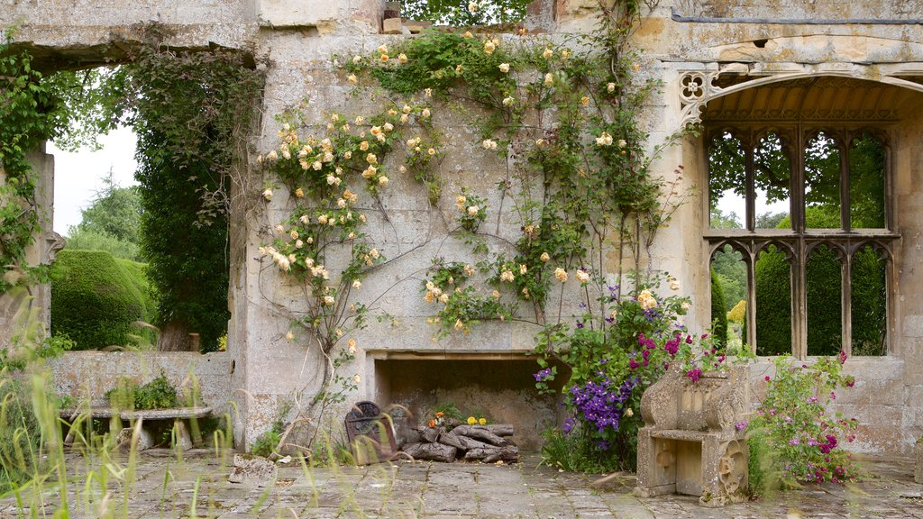 Sudeley Castle featuring chateau or palace, building ruins and flowers