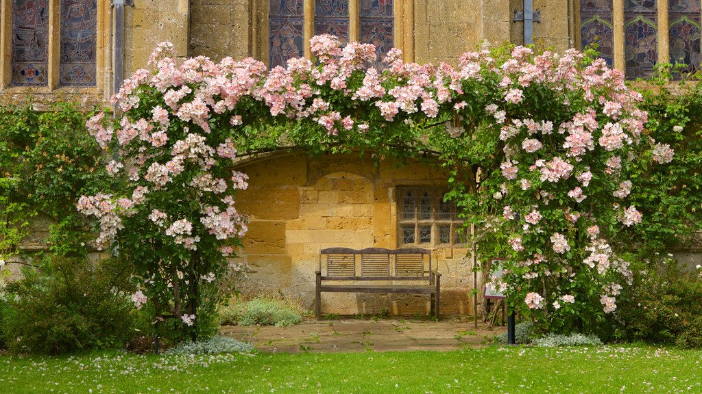 Sudeley Castle featuring a church or cathedral and flowers