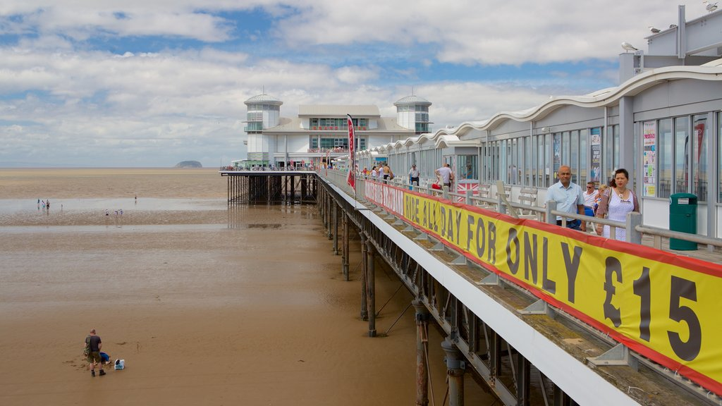 The Grand Pier featuring views and a sandy beach