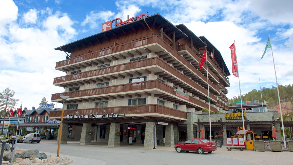 Rukatunturi featuring street scenes, signage and a hotel