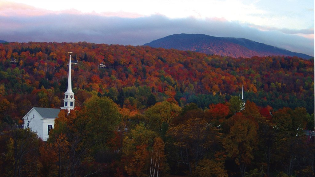 Stowe which includes landscape views, fall colors and tranquil scenes