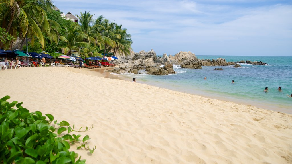Puerto Escondido which includes tropical scenes, a sandy beach and rugged coastline